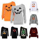 Women Halloween Pumpkin Long Sleeve T-shirts Top Fancy Dress Pullover Blouse HOT