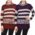 Ladies Ex Chainstore  Multi Stripe Leopard Print Turtle Neck Knitted Jumper