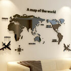 3d World Map Acrylic Solid Crystal Wall Sticker Home Office Landscaping Decor Au