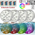 4 Underwater Submersible LED Lights RGB Color Changing Remote Control Waterproof