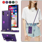 Girl Cross-body Wallet Card Slot Hand Strap Pu Leather Lanyard Phone Case Cover