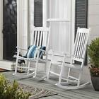 Outdoor Wood Rocking Chair Garden Porch High Back Wooden Chair Free Ship New