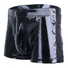 Sexy Mens Wetlook Faux Leather Shorts Briefs Zipper Lace up Pouch Underwear_US