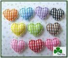 120pc x 3/4' Mix Scalloped Edge Padded Gingham Heart Appliques/Cotton ST488