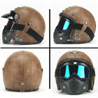 Retro Motorcycle Crash Helmet Harley Mask Half Helmet Open Face Leather Vintage
