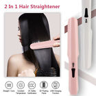 2 In 1 Professional USB Rechargeable Hair Straightener Flat Iron Anti Scald Home