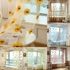 Sunflower Tulle Curtain Voile Kitchen Balcony Room Floral Window Curtains Decor