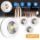 2/4PCS LED Night Light Push On Battery Operated Indoor Closet Cabinet Wall Lamp
