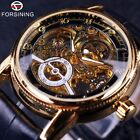 Army Leather Mens Forsining Luxury Automatic Skeleton Steampunk Wrist Watch Gift