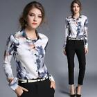 Womens Floral Printed Lapel Long Sleeve Slim Shirts OL Professional Tops Blouse