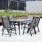 4-6 Seater Rectangle Glass Table With Chair Set Garden Furniture W/ Parasol Base