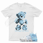 White SMILE T Shirt for Nike Air More Uptempo Psychic Blue