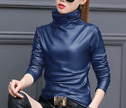 Womens PU Leather Slim Fit Shirts Turtleneck Long Sleeve Pullover Tops Hot Zsell