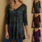Womens Boho Floral Printed Tunic Tops T-Shirt Summer Loose Tee Blouse Plus Size