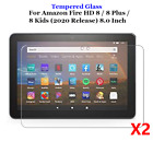 2PCS Amazon Kindle Fire HD 8 Plus HD8 Kids 2020 Tempered Glass Screen Protector