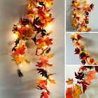 Halloween LED Light Autumn Fall Maple Leaves Garland Hanging Plant Home Decor