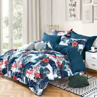 Shatex Comforter Set 3 Pieces Nave Blue Flamingo Pattern with 2Pillow Shams Soft