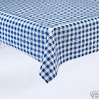 BLUE GINGHAM VINYL Plastic Patio Table Protector Cloth