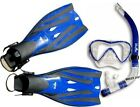 TBF SILICON FULL MASK + SNORKEL + FINS SET flipper BLUE Two Bare Feet