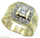 18kt Gold Plated Mens Simulated Diamond King Ring New