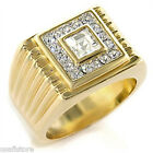 Mens Classic Square Dome 18kt Gold Plated Ring New