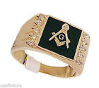 Black s10 Masonic Mason 18kt Gold Plated Mens Ring New