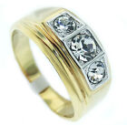 Mens 3 Simulated Diamond Modern 18kt Gold Plated Ring