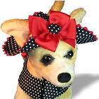 DOG HAT XS SM or MED BLACK WHITE DOTS BIG BOW YORKIE