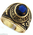 Mens Blue Air Force Military 18kt Gold Plated Ring New