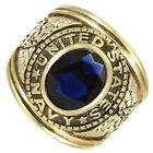 Blue Stone US Navy Military Gold EP Mens Ring New