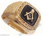 Mens Masonic Mason RX Black 18Kt Gold Plated Ring
