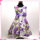 Kids Purples Wedding Party Flower Girls Pageant Dresses AGE 2-3-4-5-6-7-8-10-12Y