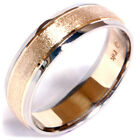 Mens Solid 14K White & Yellow Gold Stone Finish 6MM Wedding Ring Beveled Band