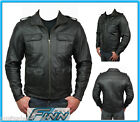 Mens Black Scooter Business City Motorcycle Aniline Cowhide Leather Jacket