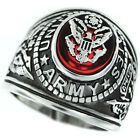 Army Seal US Military Silver Rhodium EP Mens Ring