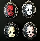 SKELETON LADY LOLITA CAMEO NECKLACE BROOCH SCROLL IVORY PINK RED CHOOSE COLOR!
