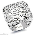 Huge Square No Stone Silver Stainless Steel Ladies Floral Cutout Cocktai Ring