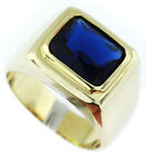 Simulated Sapphire Blue Solitaire Gold Plated Mens Emerald Cut Stone Ring