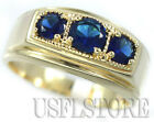 Mens 3 Blue Stone Simulated Sapphire Gold Plated Ring