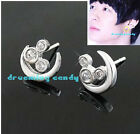 Korean Tohoshinki TVXQ Yuchun Mickey & moon Stud with CZ Gems Made in Korea NEW