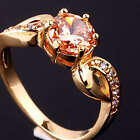 Round Stone Crystal Lady Ring Gold Sz6 7 8 Red Clear Purple Champagne