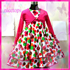 HP3118 Pink Polka Dot Girls Dress + Pinks Cardigan SET 2,3,4,5,6,7,8,9,10,11,12T