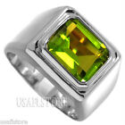 Green Peridot CZ Stone Solitaire Rhodium Plated Mens Ring New