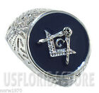 Masonic Mason Round Blue Background Silver Stainless Steel Mens Ring