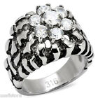 Seven Clear Stones 0.52ct Silver Stainless Steel Nugget Mens Ring