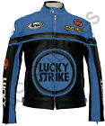 """LUCKY STRIKE"" New Black/Blue Leather Motorcycle Jacket - All sizes!"