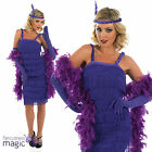LADIES PURPLE ROARING 20s CHARLESTON FLAPPER FANCY DRESS COSTUME GLOVES HEADBAND
