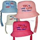 Baby Beach Bush Sun Hat Chin Strap Child Boys Girls Kids Fun Funky Slogan Cotton