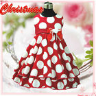 R3118A Apple Reds Polka Dots Christmas Party Girls Dress SIZE 2,3,4,5,6,7,8,9,10