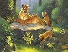 3272 PUMA AND CUBS WILD ANIMALS FINE WALL ART FANTASY METAL WALL SIGN BRAND NEW